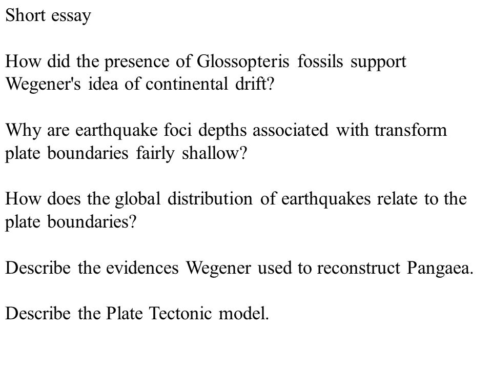 visualizing geology first edition chapter plate tectonics ppt  short essay how did the presence of glossopteris fossils support wegener s idea of continental drift