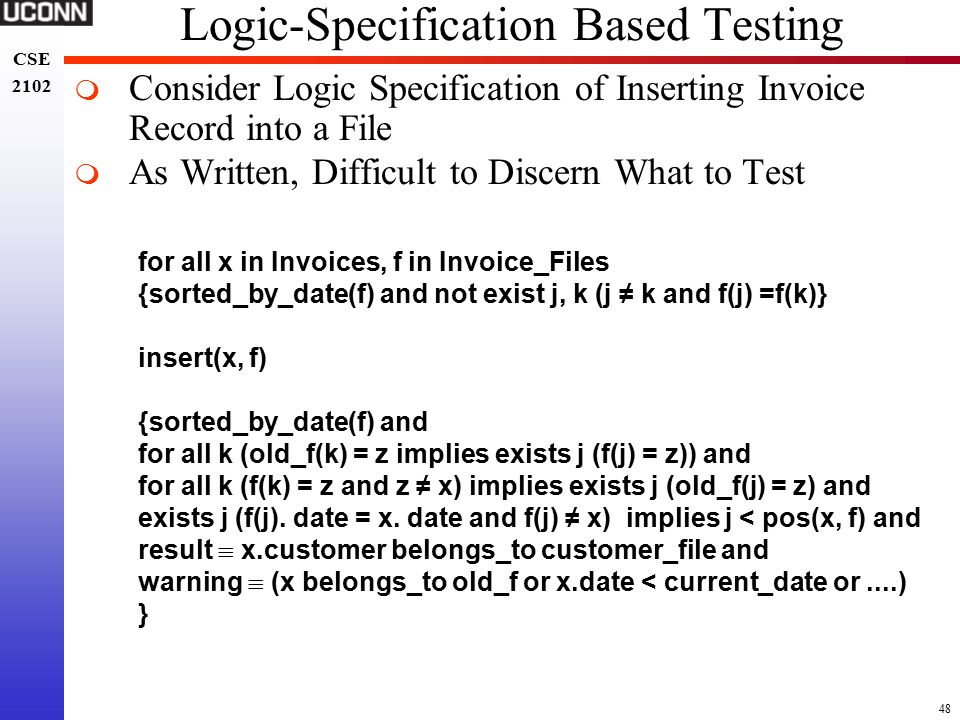 Free Invoice Maker Download Pdf Chapter  Software Verification  Ppt Download Form Receipt Of Payment Pdf with Grand Cherokee Invoice Price Word  Logicspecification Based Testing Consider Logic Specification Of  Inserting Invoice  Free Receipts Online Pdf