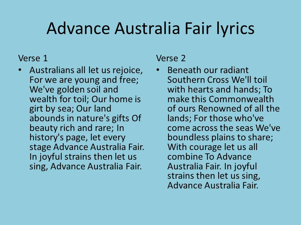 Advance Australia Fair | Australian national anthem ...