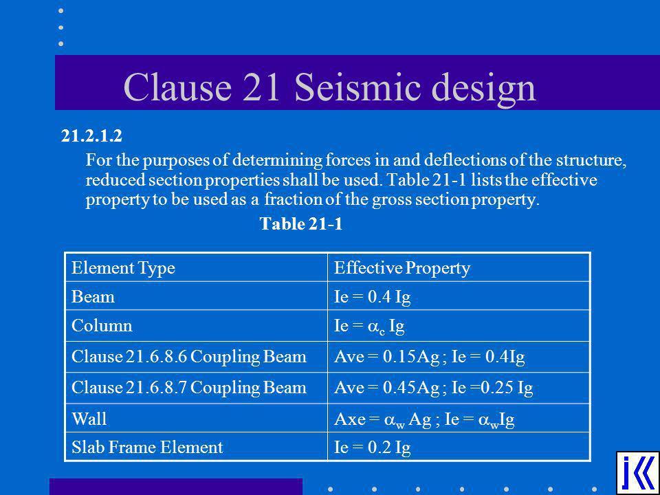 Clause 21 Seismic design 21.2.1.2.