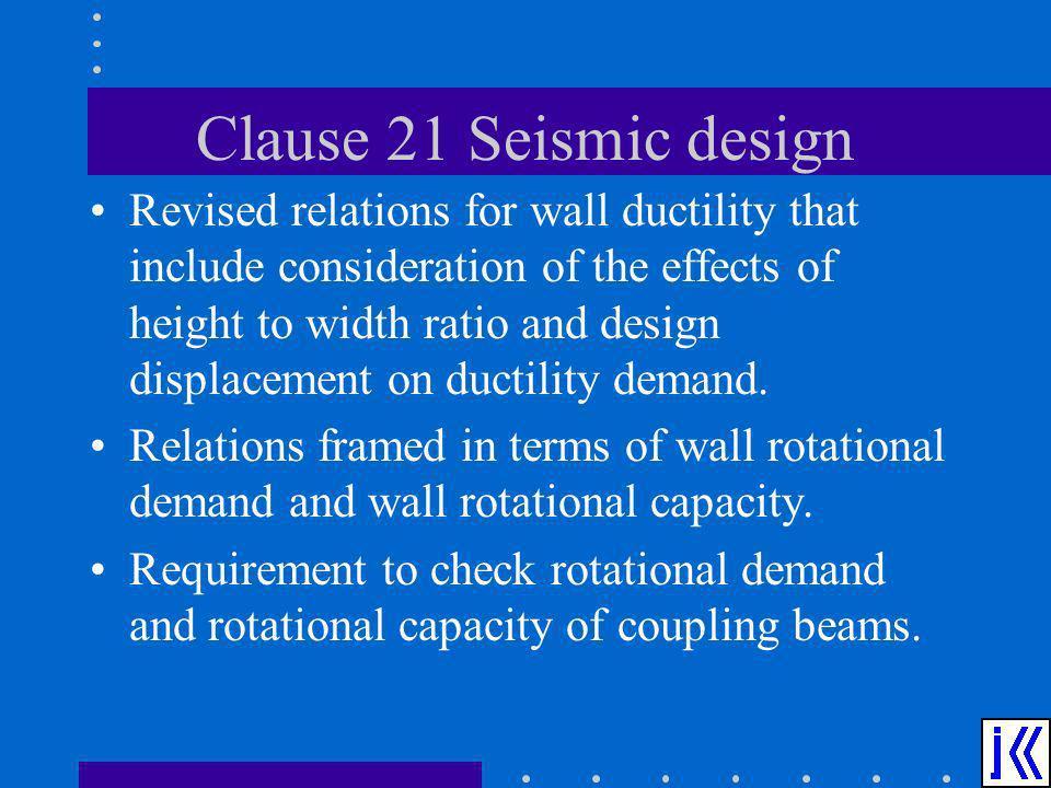 Clause 21 Seismic design