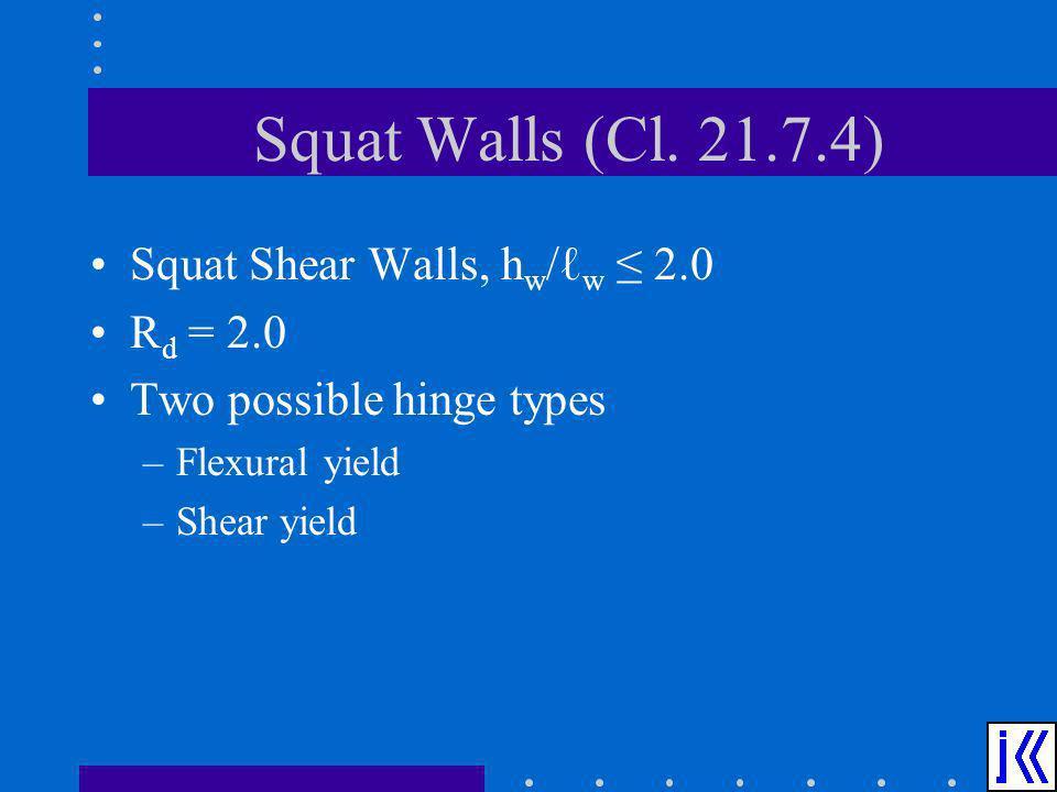 Squat Walls (Cl. 21.7.4) Squat Shear Walls, hw/ℓw ≤ 2.0 Rd = 2.0