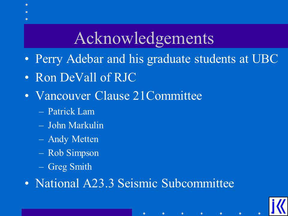 Acknowledgements Perry Adebar and his graduate students at UBC
