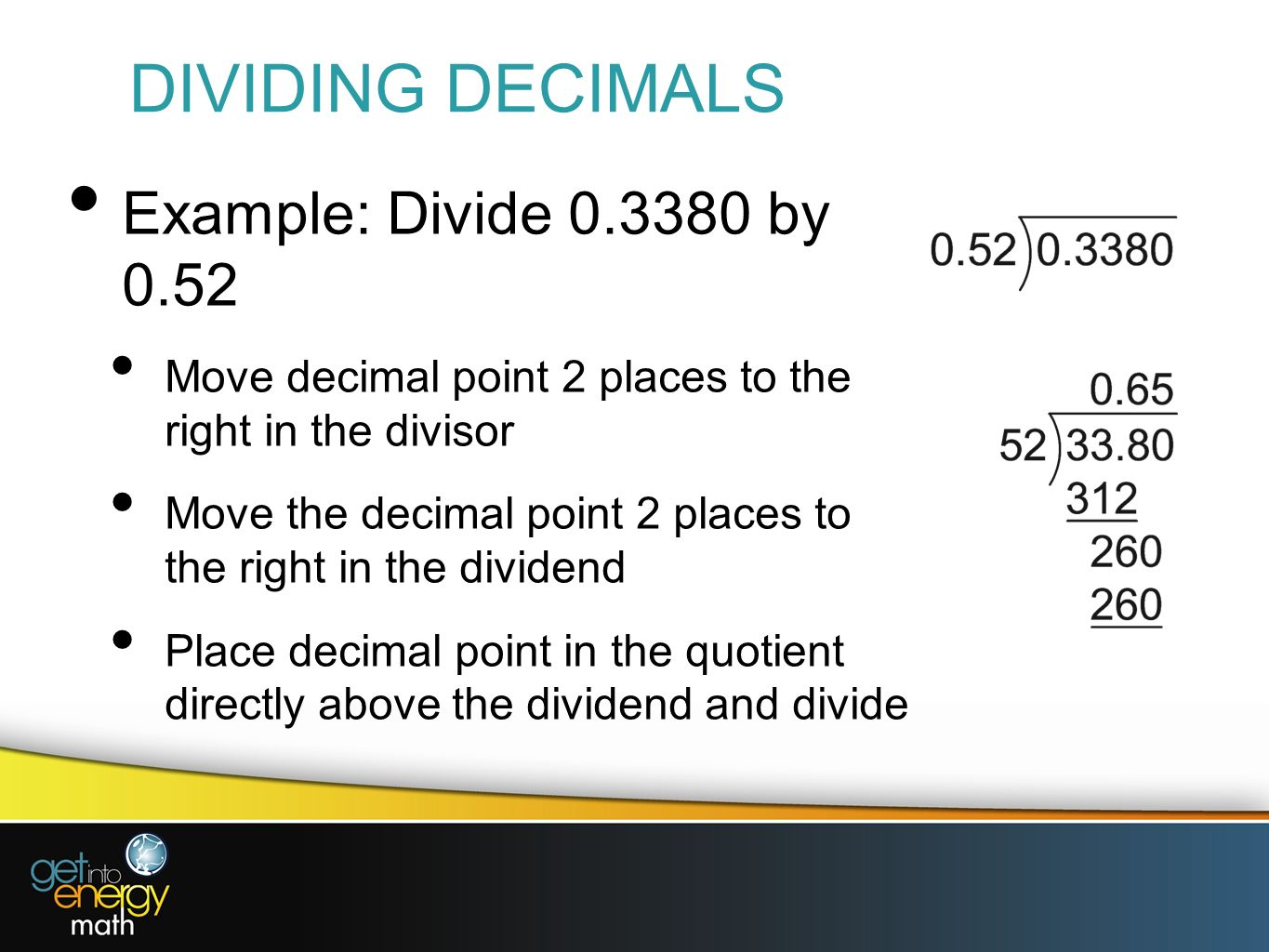 how to divide decimals when the answer is a decimal