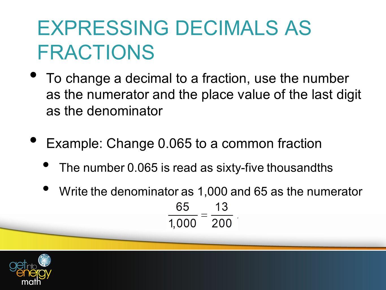 Presentation 6 decimal fractions ppt video online download expressing decimals as fractions falaconquin