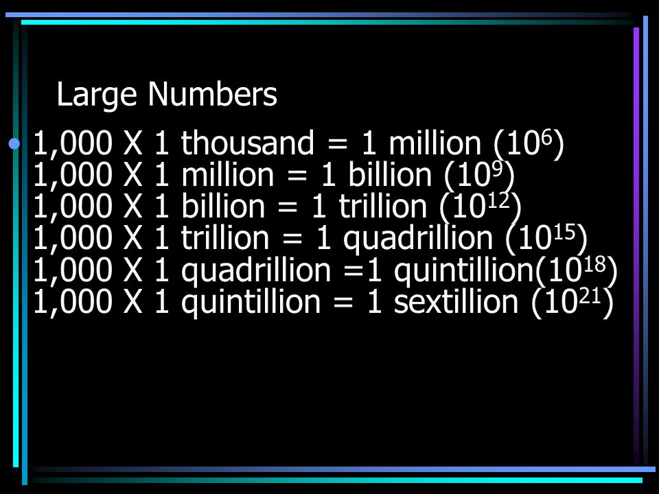 Large Numbers 1,000 X 1 thousand = 1 million (106) 1,000 X 1 million = 1  billion (109) 1,000 X 1 billion = 1 trillion (1012) 1,000 X 1 trillion = 1