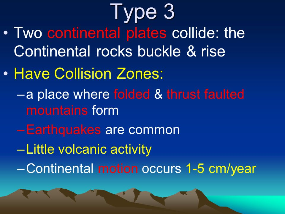 Type 3 Two continental plates collide: the Continental rocks buckle & rise. Have Collision Zones:
