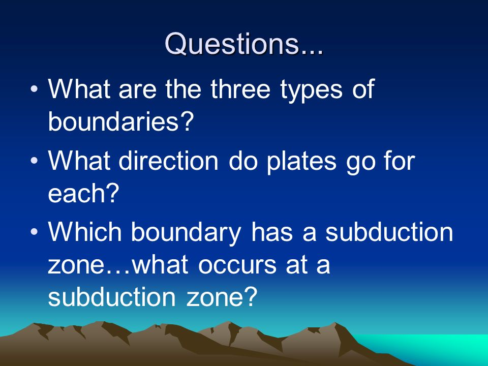 Questions... What are the three types of boundaries