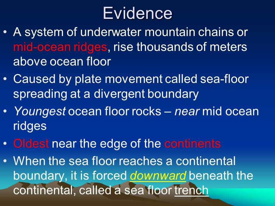 Evidence A system of underwater mountain chains or mid-ocean ridges, rise thousands of meters above ocean floor.