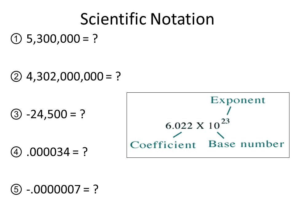 Scientific Notation 5,300,000 = 4,302,000,000 = -24,500 =