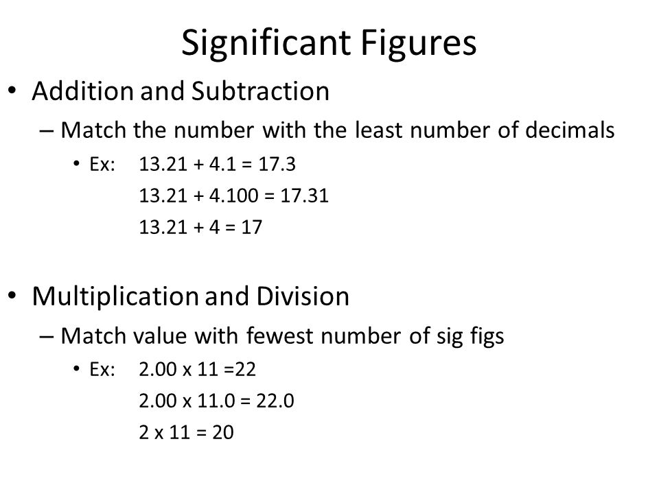 Significant Figures Addition and Subtraction