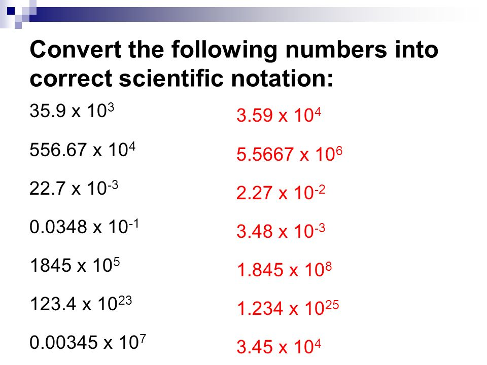 84 The Scientific Notation Objective The Student Will Be Able To