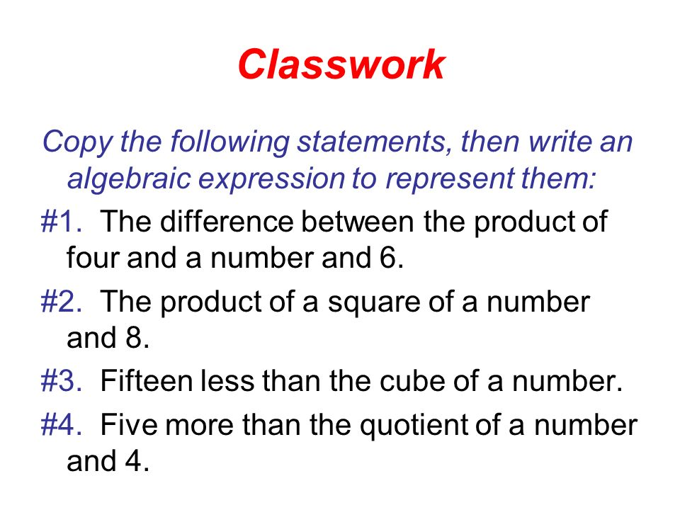How do you write the algebraic expression for: the product of x and y?