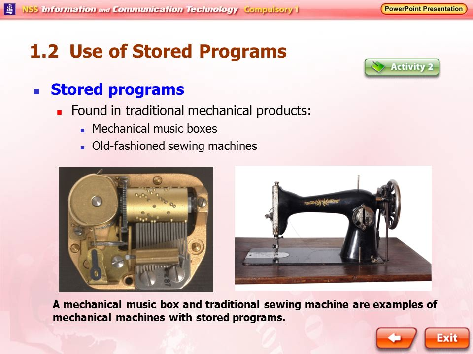 1.2 Use of Stored Programs Stored programs