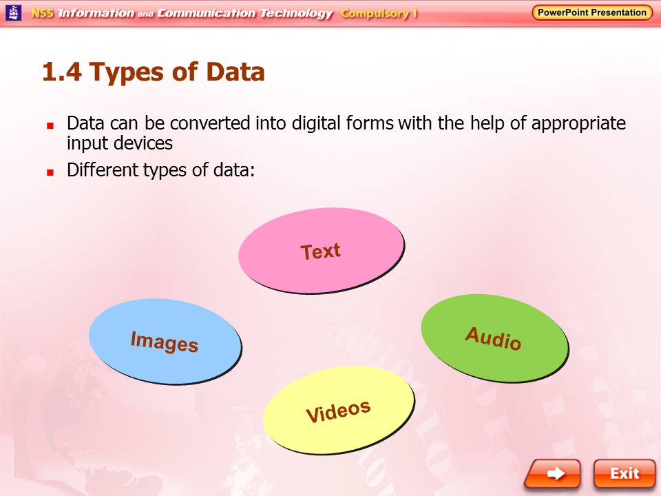 1.4 Types of Data Text Audio Images Videos
