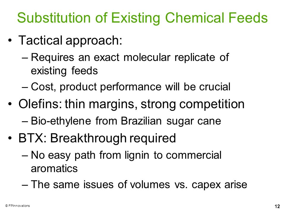 Substitution of Existing Chemical Feeds