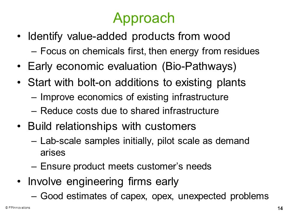 Approach Identify value-added products from wood