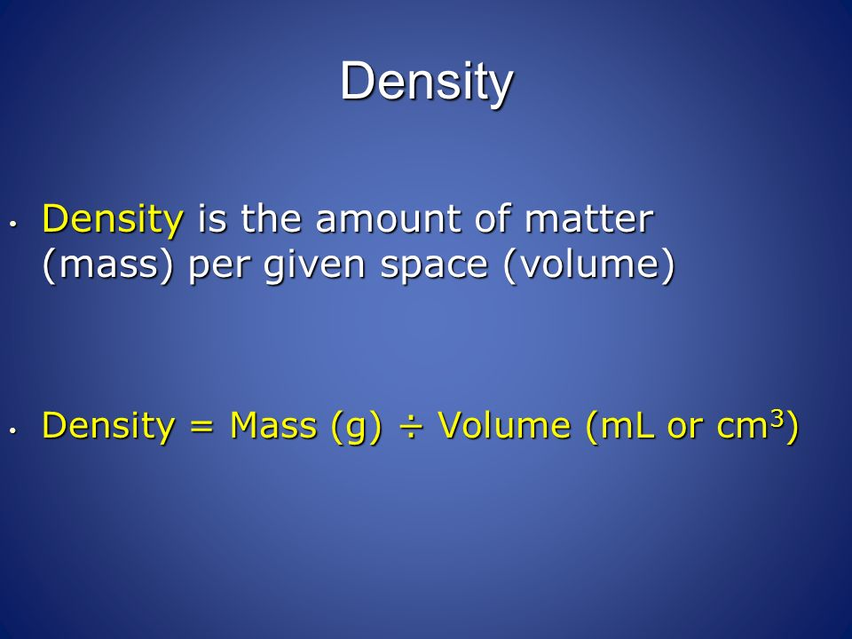 how to find volume when given density and mass