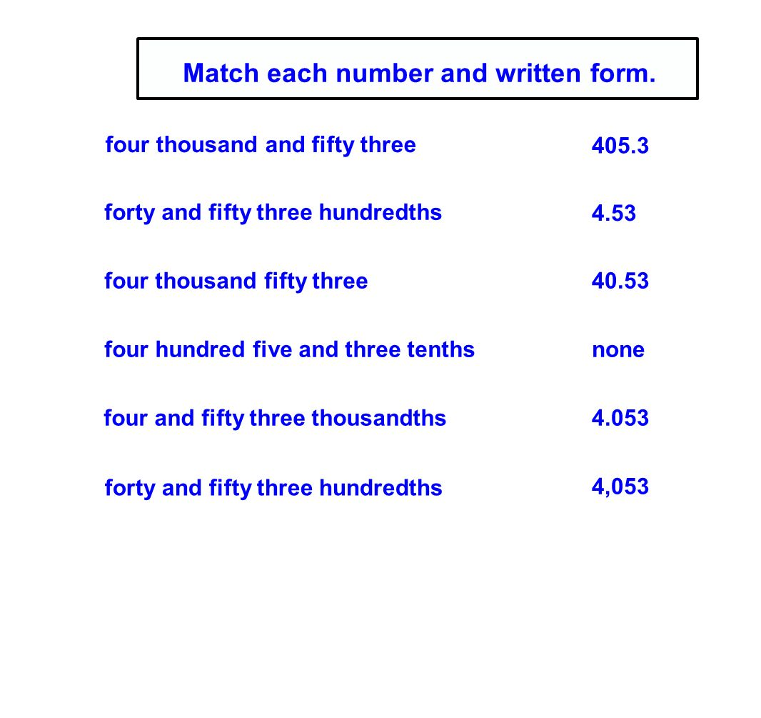 Two hundredths in standard form choice image standard form examples 5th grade decimal concepts ppt download match each number and written form falaconquin falaconquin