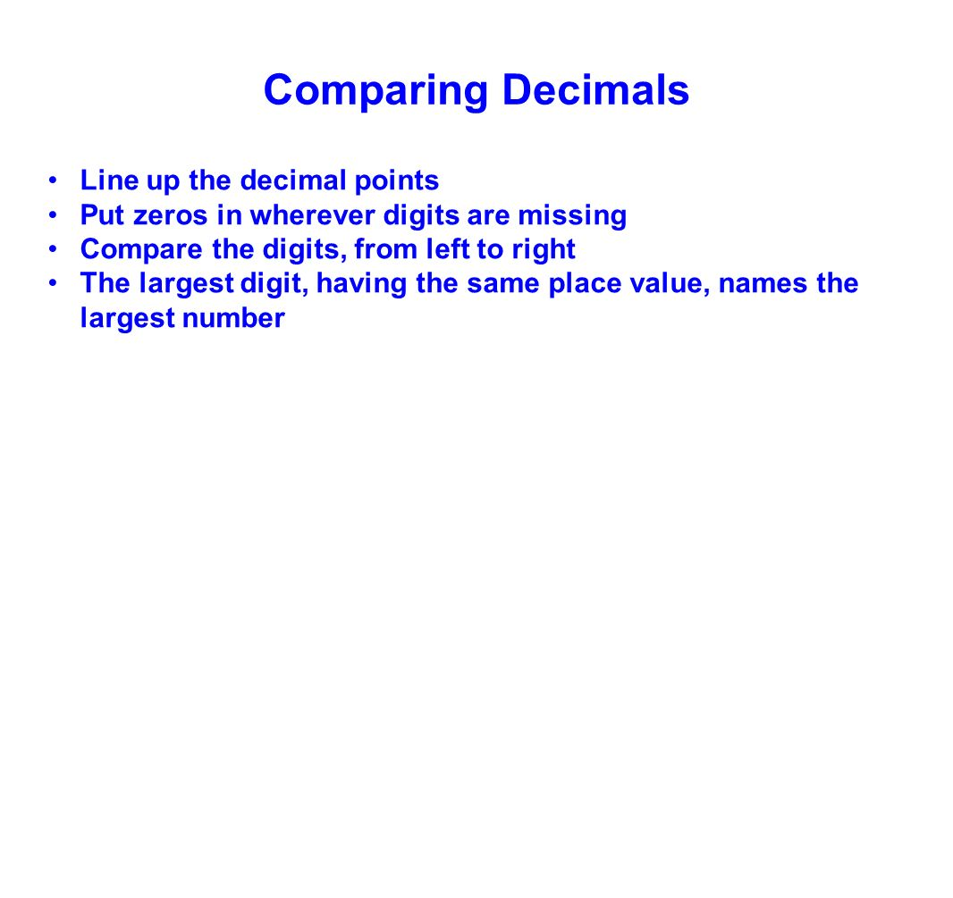 worksheet Decimal Places Names 5th grade decimal concepts ppt download comparing decimals line up the points