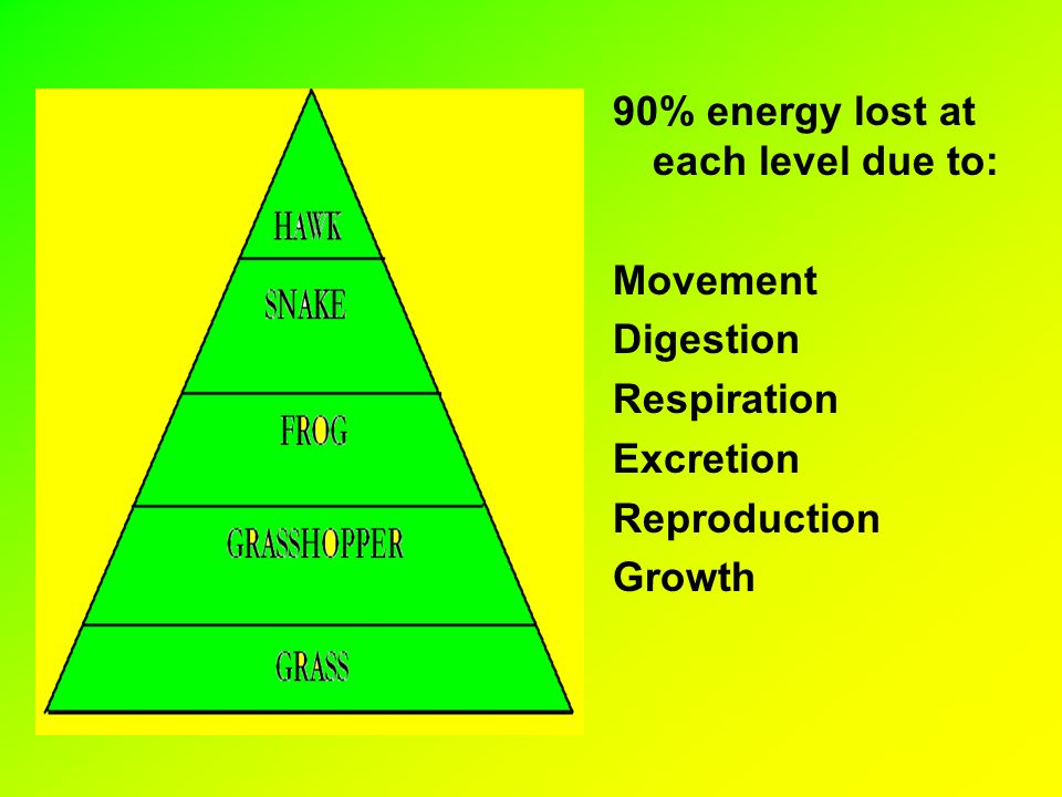 90% energy lost at each level due to: