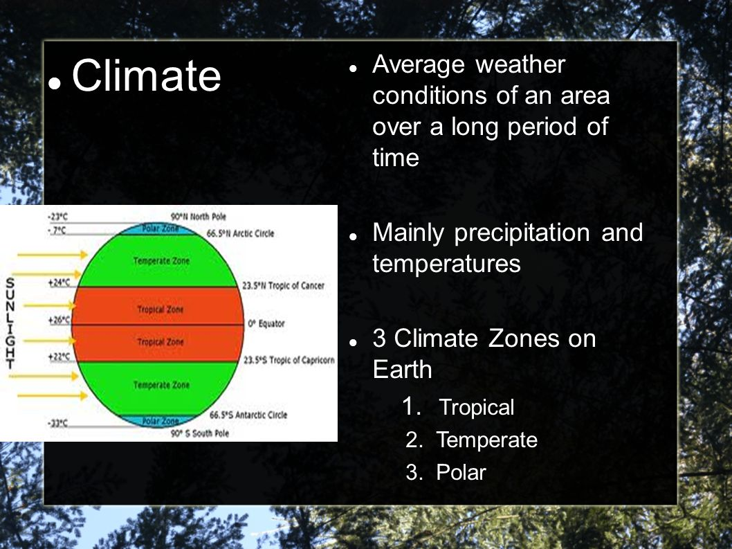 Climate Average weather conditions of an area over a long period of time. Mainly precipitation and temperatures.