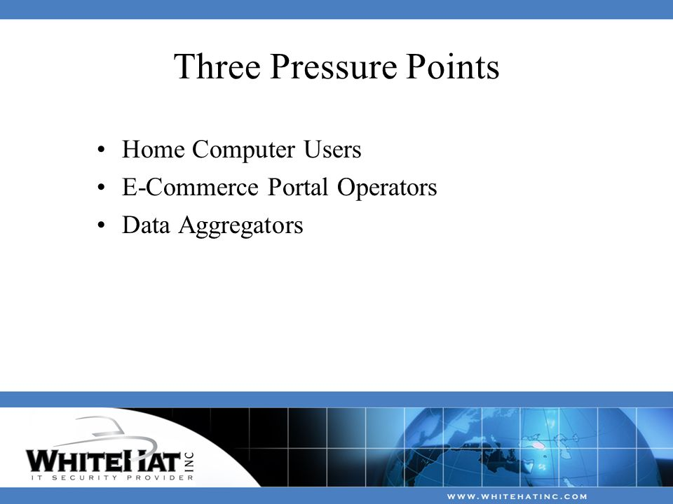 Three Pressure Points Home Computer Users E-Commerce Portal Operators