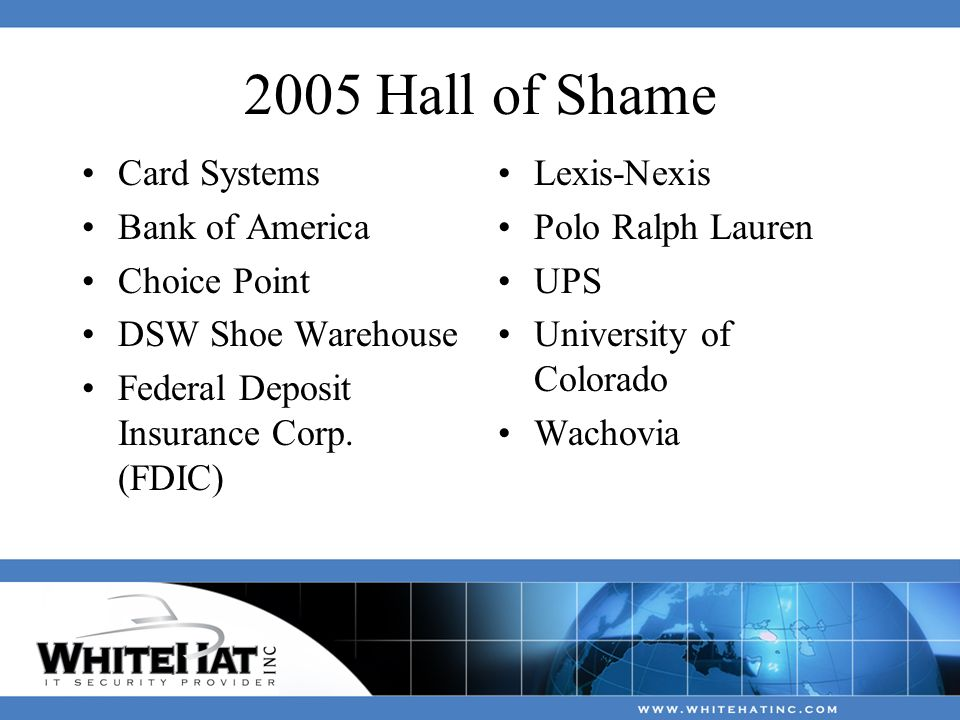 2005 Hall of Shame Card Systems Bank of America Choice Point