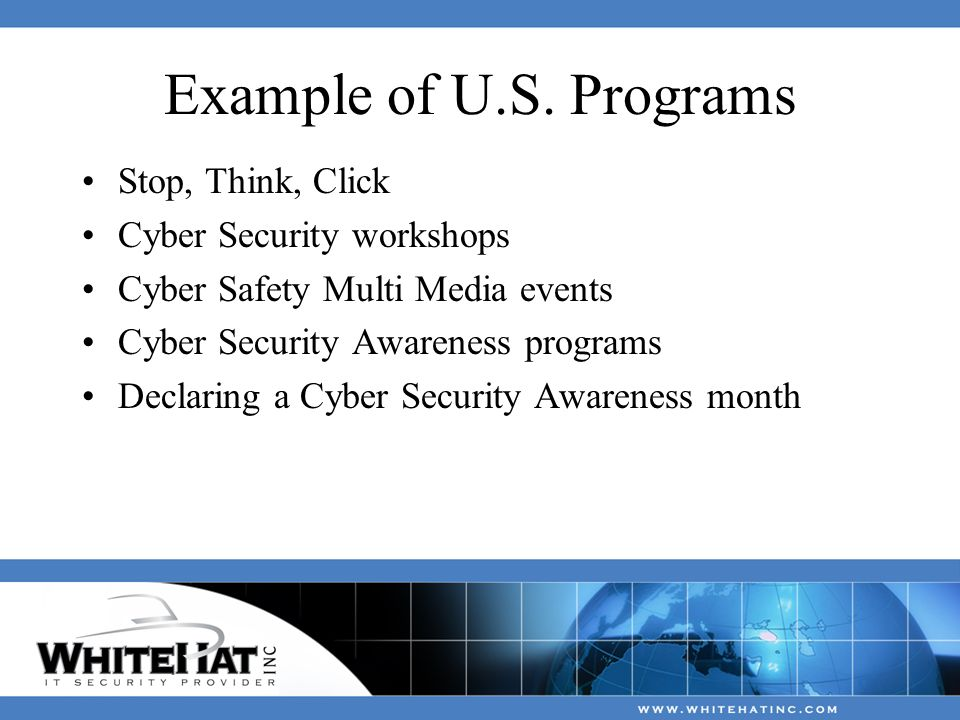 Example of U.S. Programs Stop, Think, Click Cyber Security workshops