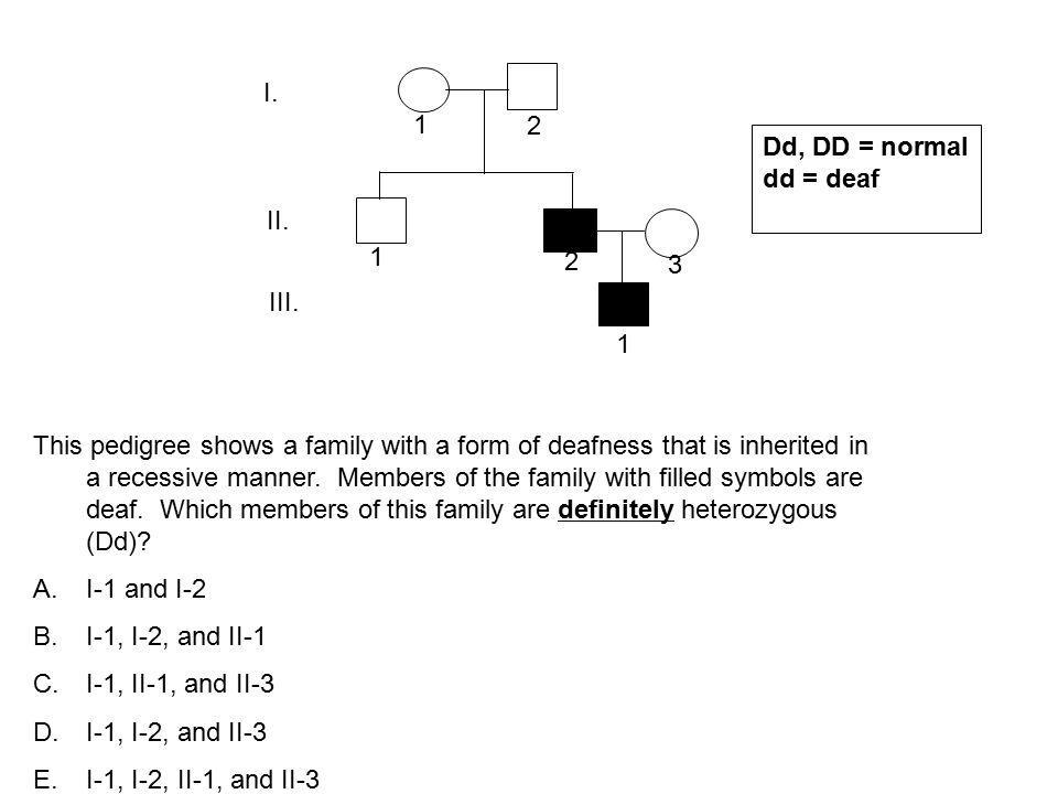 I. 1 2 Dd, DD = normal dd = deaf II. 1 2 3 III. 1