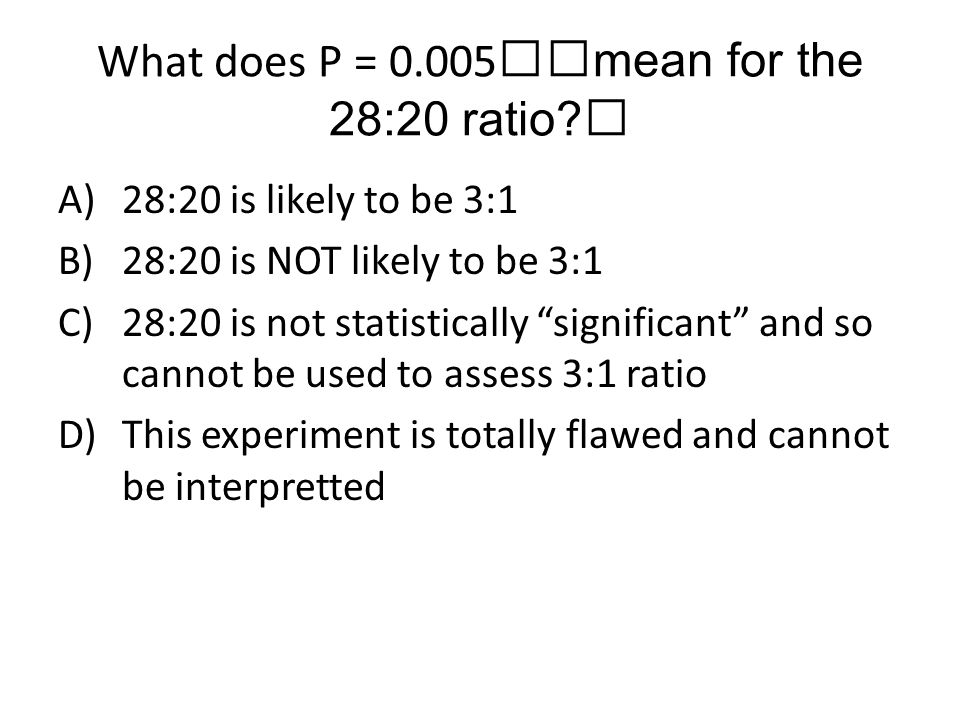 What does P = 0.005mean for the 28:20 ratio
