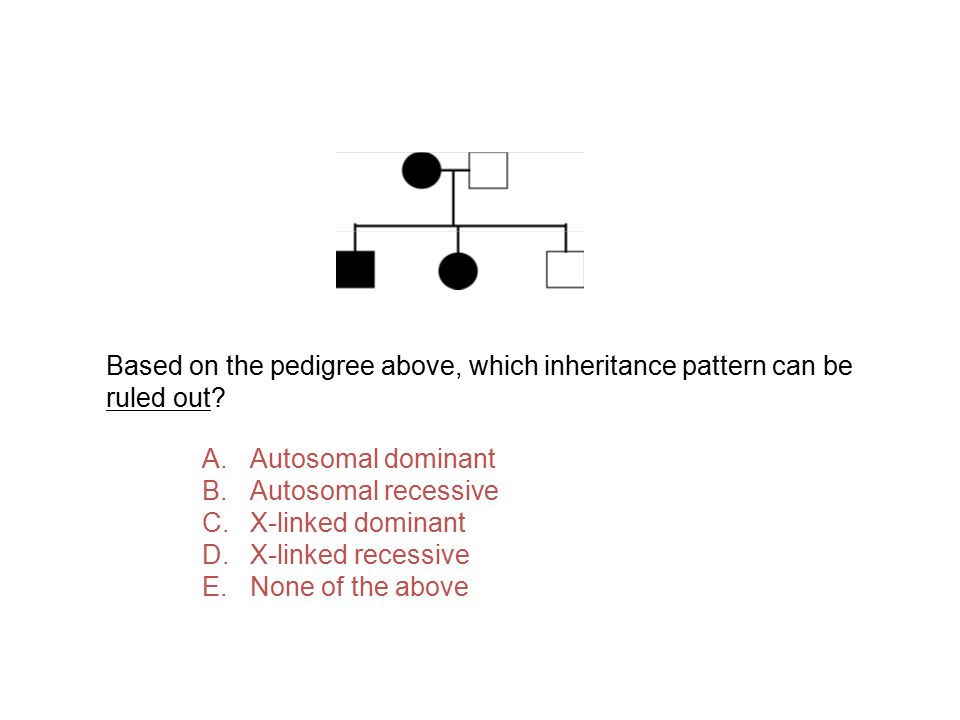 Based on the pedigree above, which inheritance pattern can be ruled out