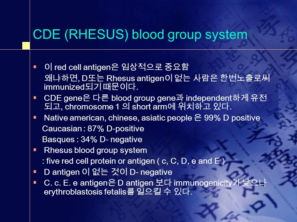 CDE (RHESUS) blood group system