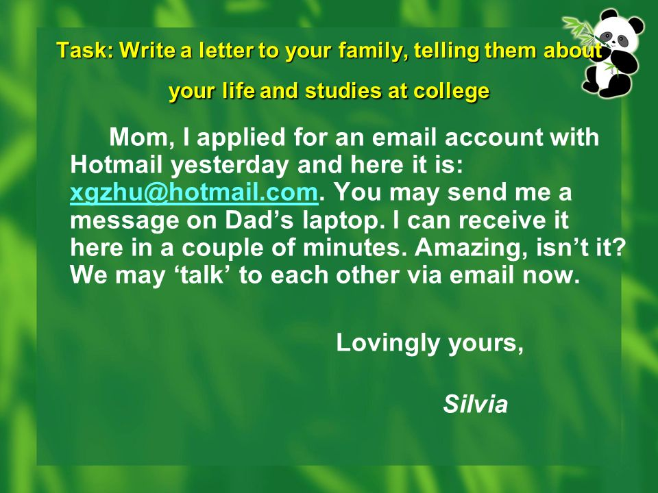 write a letter about your life