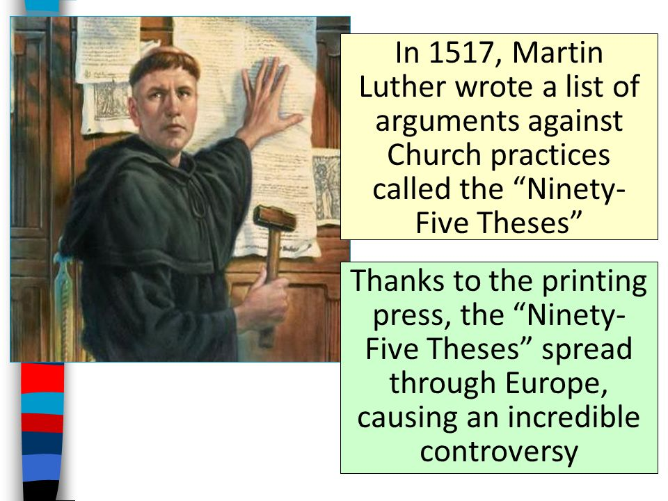five luthers martin ninety thesis To combat abuses in the church of his day, martin luther drafted nearly a hundred propositions for public debate the young german monk posted these theses on the church door in wittenberg, an action that helped to give birth to the reformation.