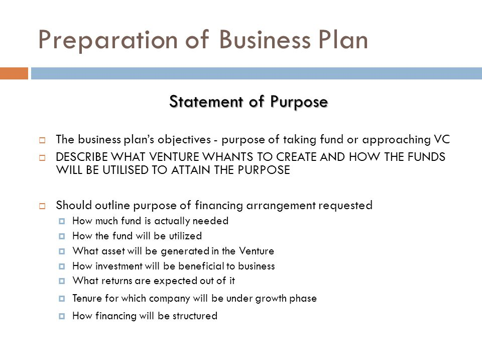 Purpose of preparing business plan