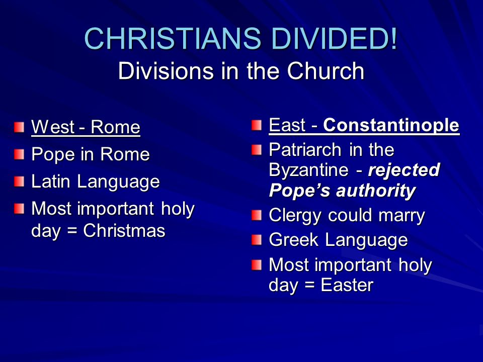 CHRISTIANS DIVIDED! Divisions in the Church