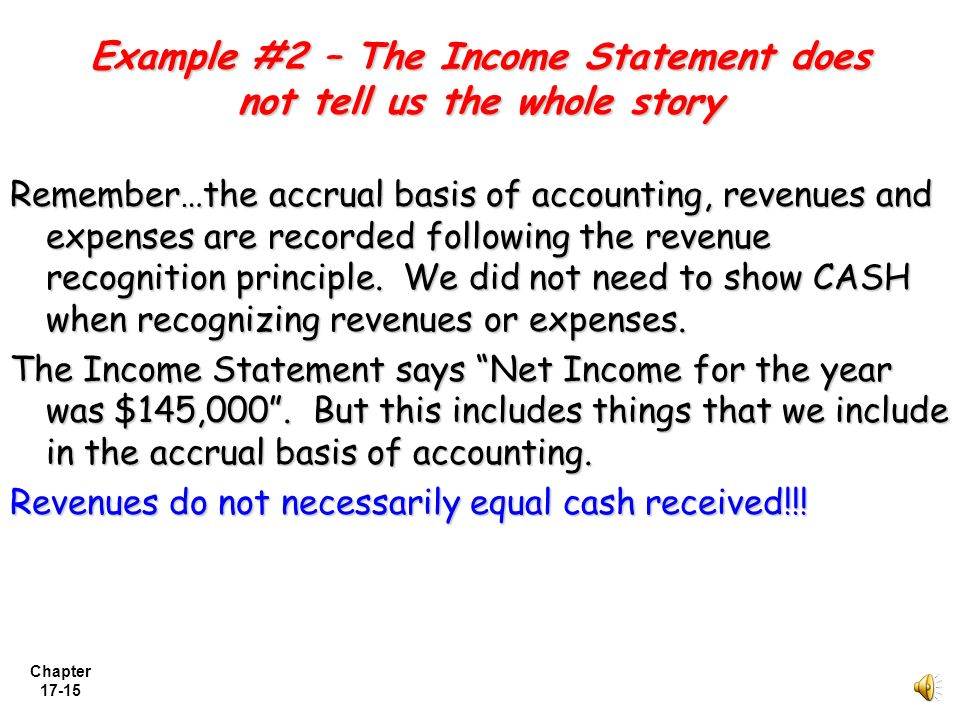 Example #2 – The Income Statement does not tell us the whole story
