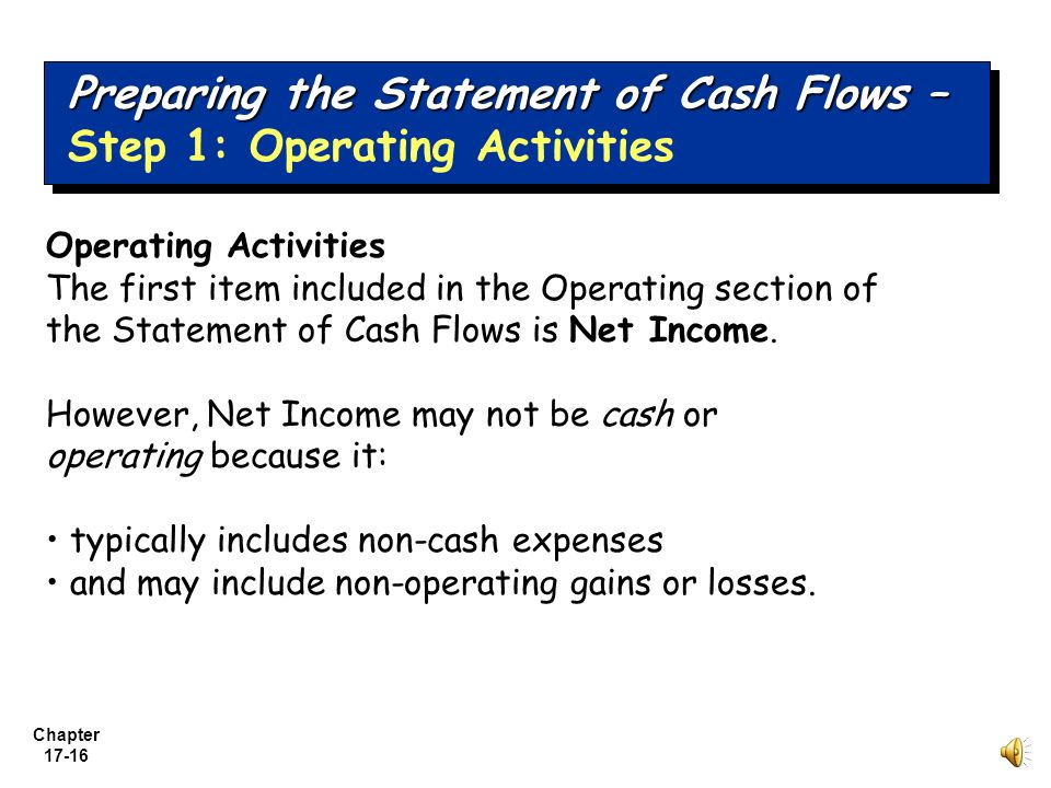 Preparing the Statement of Cash Flows – Step 1: Operating Activities