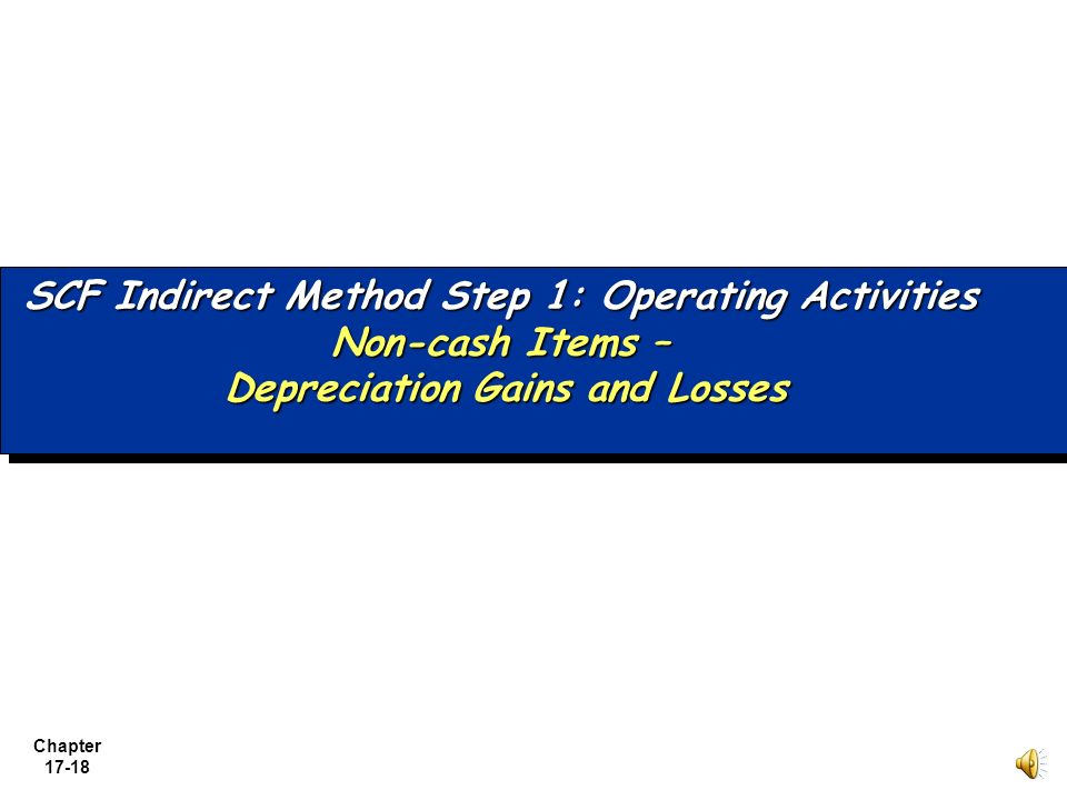 SCF Indirect Method Step 1: Operating Activities. Non-cash Items –