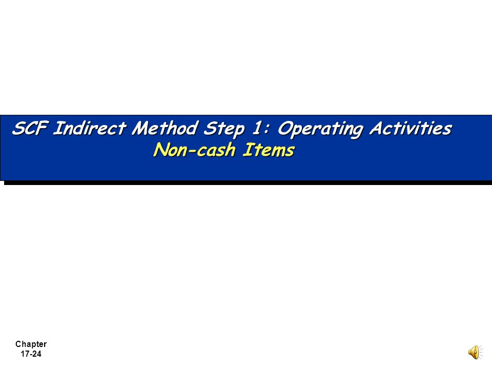 SCF Indirect Method Step 1: Operating Activities Non-cash Items