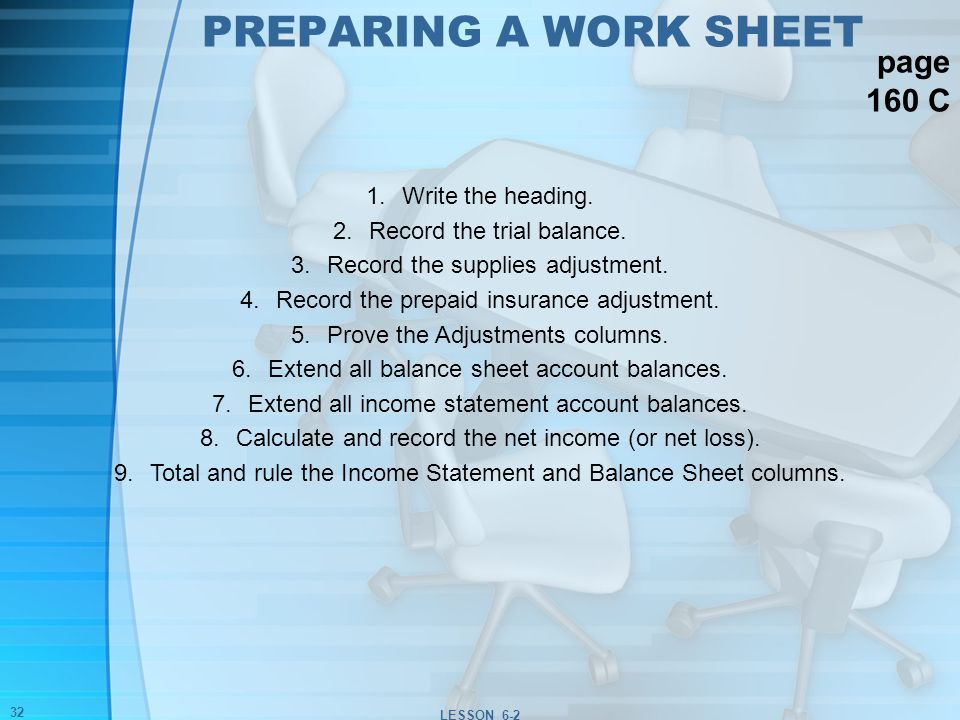 Worksheet for a Service Business - ppt download