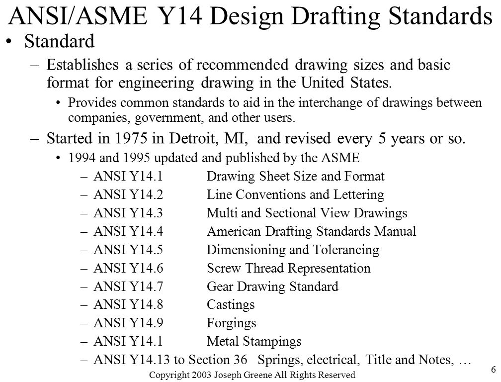 ANSI ASME Y14 Design Drafting Standards