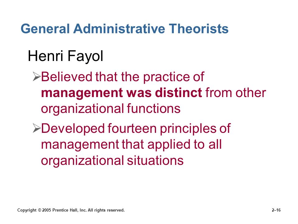 general administrative theory Fayol's general administrative theory slideshare uses cookies to improve functionality and performance, and to provide you with relevant advertising if you continue browsing the site, you agree to the use of cookies on this website.