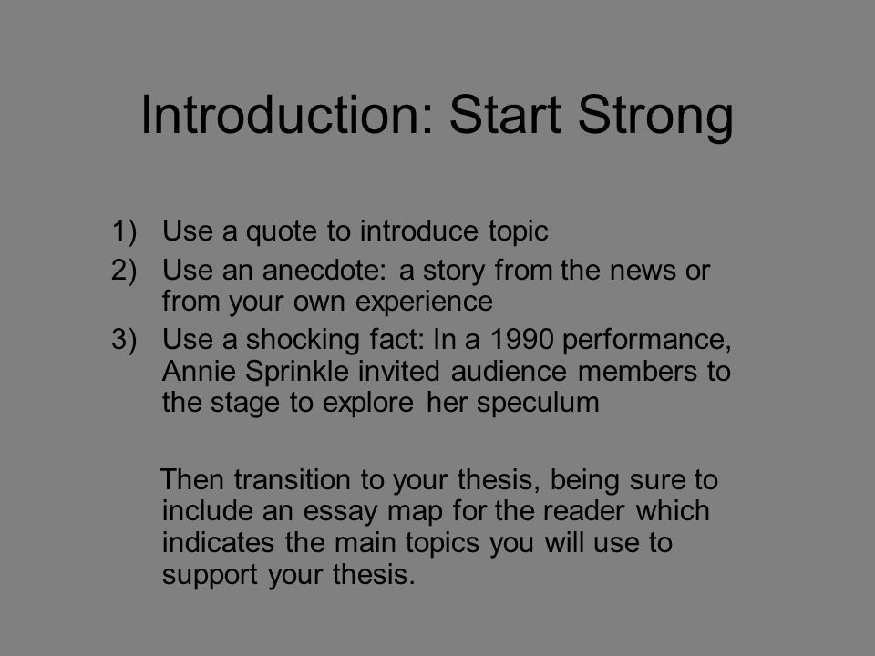 Introduction: Start Strong
