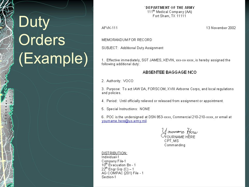 army appointed place of duty From the appointed place of duty after having reported at such place (3) absence from unit, organization, or place of  what is the army regulation for .