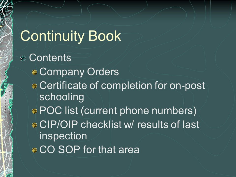 continuity book army template additional duties you arrive at your unit and your company