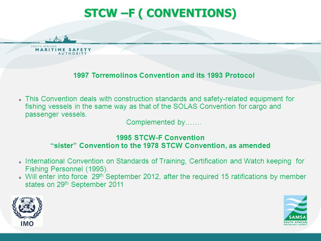 Stcw f fishing industry 2012 sasmia ppt video online download slide stcw f conventions 1997 torremolinos convention and its 1993 protocol 1betcityfo Choice Image
