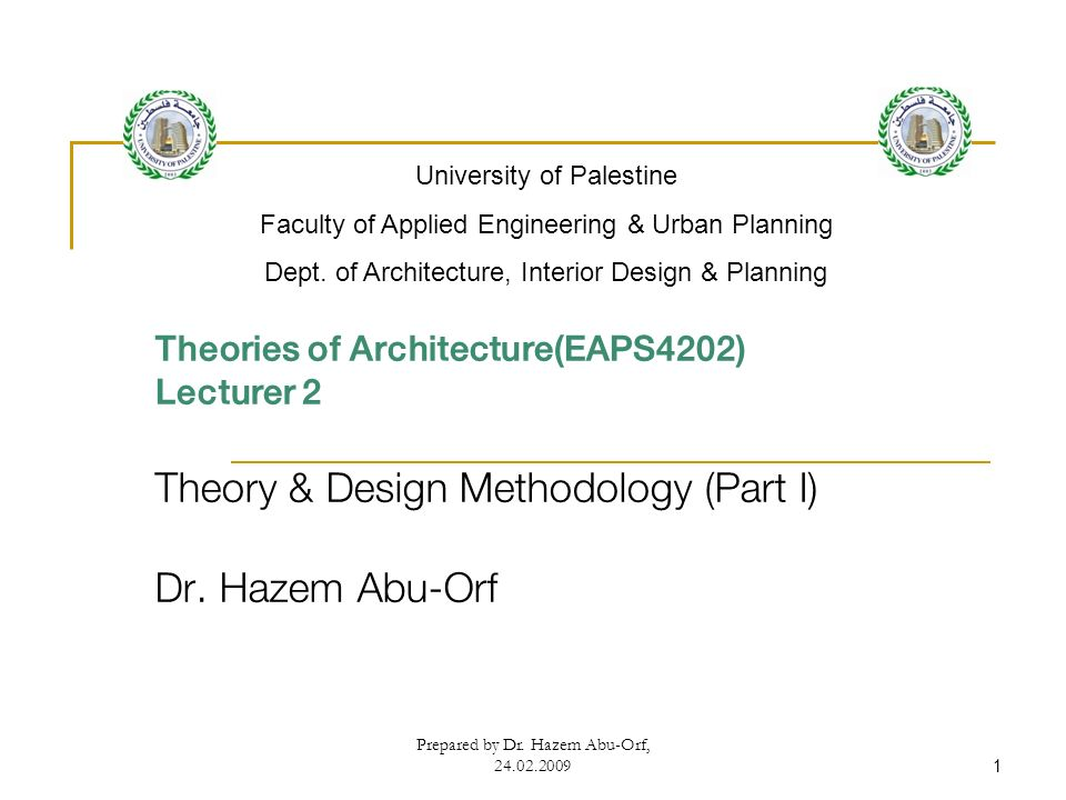 Architecture Design Methodology theory & design methodology (part i) dr. hazem abu-orf - ppt video